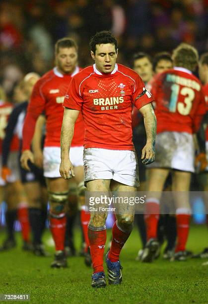 Stephen Jones of Wales dejectedly leaves the pitch following his team's defeat at the end of the RBS Six Nations match between Scotland and Wales at...