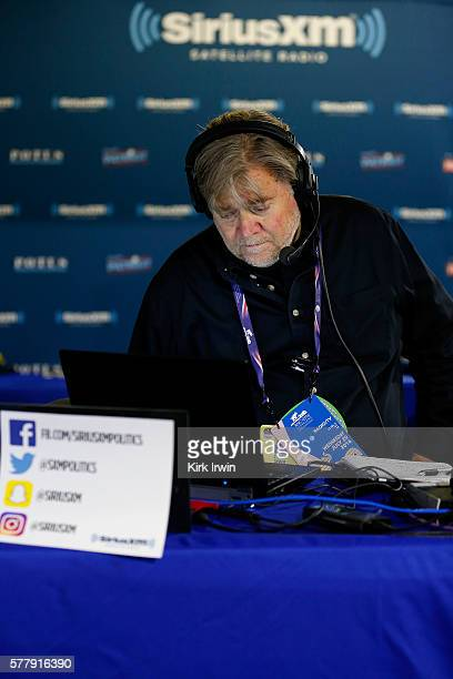 Stephen K. Bannon looks at his computer to see who will be the next caller he will talk to while hosting Brietbart News Daily on SiriusXM Patriot at...