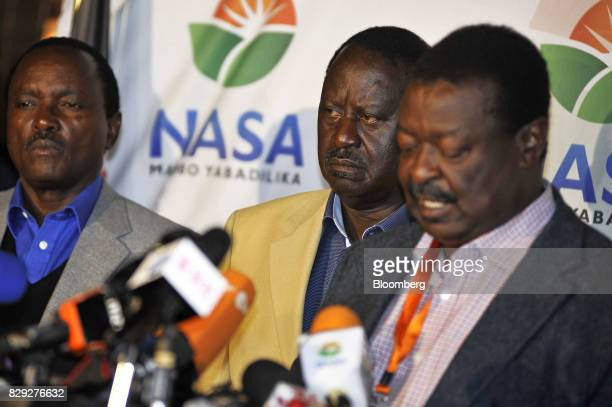 Stephen Kalonzo Musyoka former Kenya vice president left and Raila Odinga opposition leader and presidential candidate for the National Super...