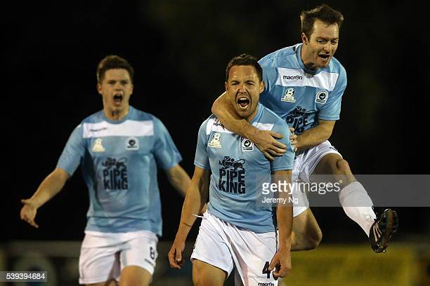Stephen Kayes and Matthew Gordon of the Sharks celebrate a goal during the Men's 1 National Premier League match between the Sutherland Sharks FC and...