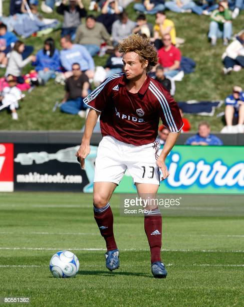 Stephen Keel of the Colorado Rapids dribbles against the Kansas City Wizards during the game at Community America Ballpark on April 5, 2008 in Kansas...