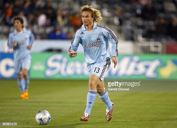 Stephen Keel of the Colorado Rapids dribbles during the Burgundy Blue scrimmage on March 19 2008 at Dicks Sporting Goods Park in Commerce City...