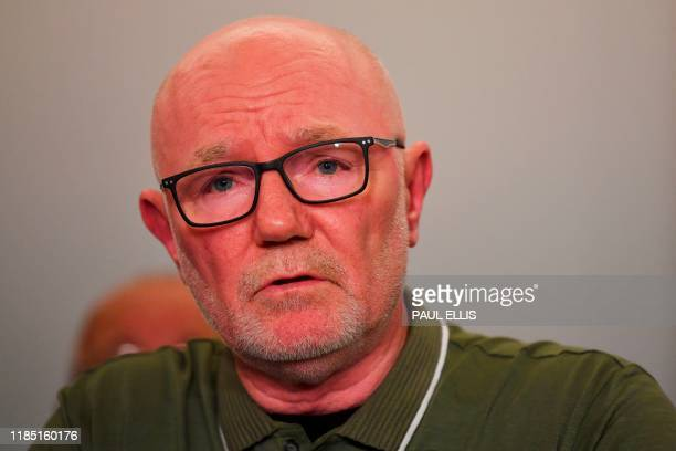 Stephen Kelly representing family members survivors and campaigners for the victims of the Hillsborough Disaster speaks during a press conference in...