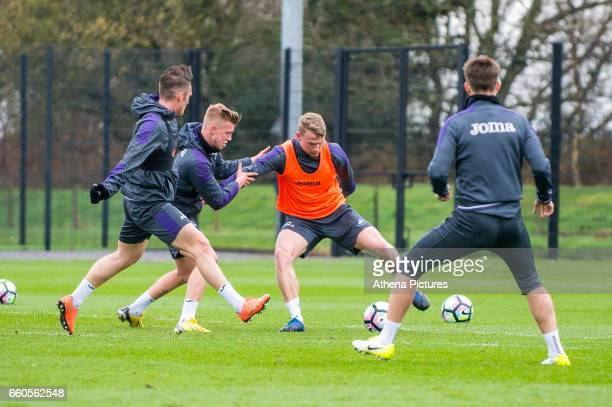 Stephen Kingsley in action during the Swansea City training session at The Fairwood training Ground on March 30 2017 in Swansea Wales
