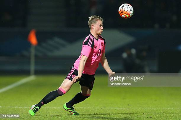 Stephen Kingsley of Scotland during the Uefa U21 European Championship qualifier between France and Scotland at Stade Jean Bouin on March 24 2016 in...