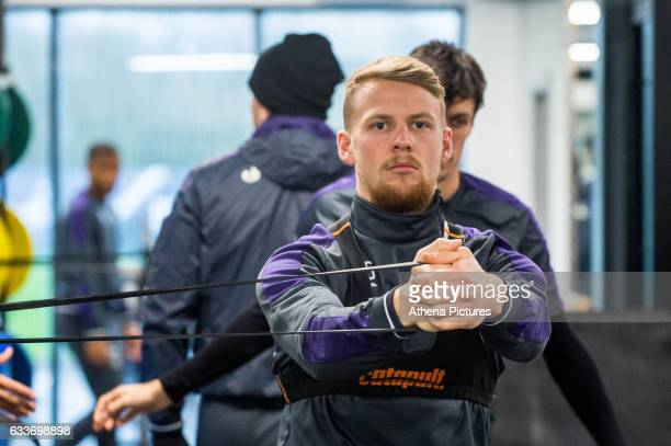 Stephen Kingsley works out during the Swansea City training session at The Fairwood training Ground on February 03 2017 in Swansea Wales