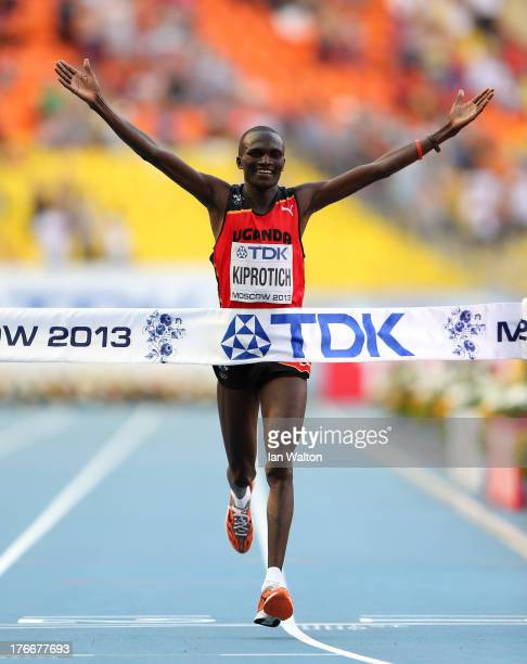 Stephen Kiprotich of Uganda crosses the line to win gold in the Men's Marathon during Day Eight of the 14th IAAF World Athletics Championships Moscow...