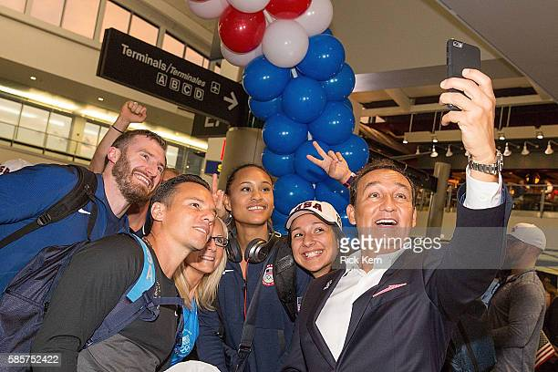 Stephen Lambdin Paige McPherson United Airlines CEO Oscar Munoz and United Airlines celebrate Team USA as over 85 US athletes get ready to board...