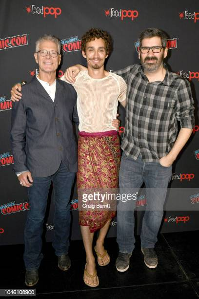 Stephen Lang Robert Sheehan and Christian Rivers attend the Mortal Engines panel during New York Comic Con 2018 at The Hulu Theater at Madison Square...