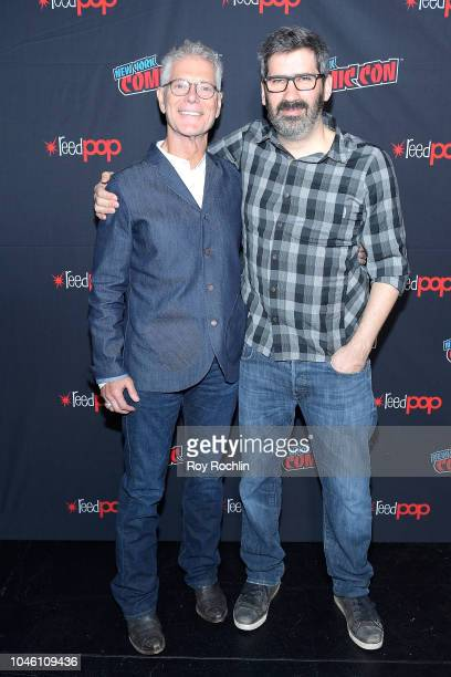 Stephen Lang Robert Sheehan and Christian Rivers attend the Mortal Engines panel during the New York Comic Con 2018 at Javits Center on October 5...