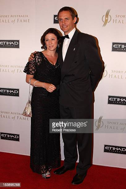 Stephen Larkham and Jacqueline arrive for the Sport Australia Hall of Fame Annual Induction ceremony at Crown Palladium on October 11 2012 in...