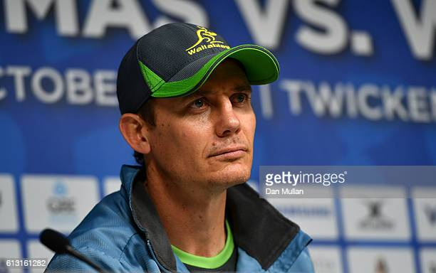 Stephen Larkham Assistant Coach of Australia faces the media following the Australia Captain's Run ahead of the Rugby Championship match against...
