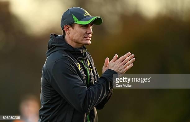Stephen Larkham Assistant Coach of Australia looks on during an Australia training session at Harrow School on November 28 2016 in London United...