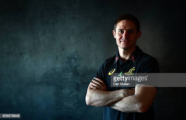 Stephen Larkham Assistant Coach of Australia poses for a portrait prior to an Australia training session at the Hilton London Wembley Hotel on...