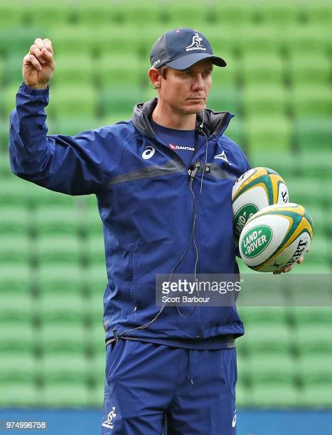 Stephen Larkham attack coach for the Australian Wallabies looks on during an Australian Wallabies Captain's Run at AAMI Park on June 15 2018 in...