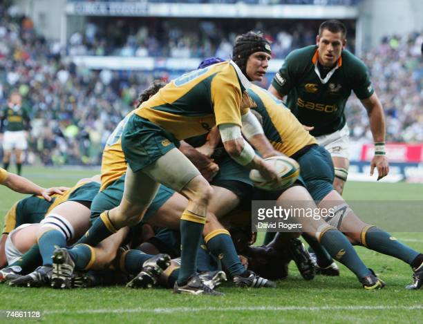 Stephen Larkham of Australia clears the ball during the 2007 Tri Nations match between South Africa and Australia at Newlands Stadium on June 16,...