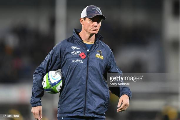 Stephen Larkham of the Brumbies before the round nine Super Rugby match between the Hurricanes and the Brumbies at McLean Park on April 21 2017 in...