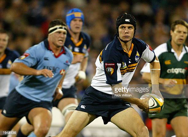 Stephen Larkham of the Brumbies in action during the round nine Super 12 match between the ACT Brumbies and the New South Wales Waratahs held at...