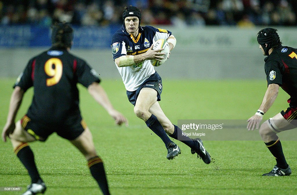 Stephen Larkham #10 of the Brumbies in action during the Super 12 game between the Chiefs and Brumbies at Waikato Stadium in Hamilton, New Zealand on May 8, 2004. The Chiefs scored a point by finishing within 8 points of the Brumbies to go through. The Brumbies won the match 15-12.