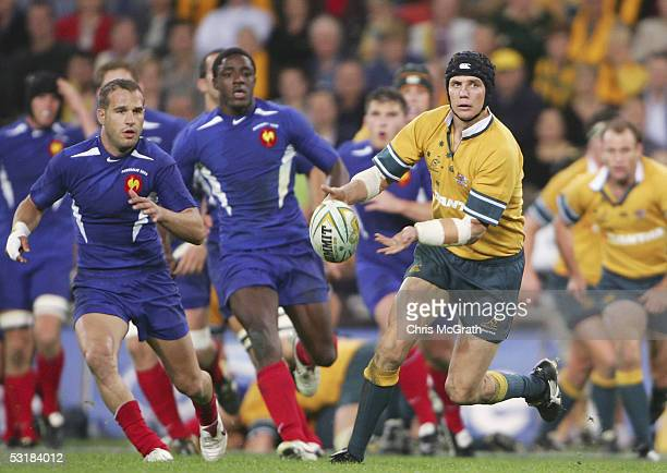 Stephen Larkham of the Wallabies in action during the Bundaberg Rum International Rugby Test match between the Australian Wallabies and France held...