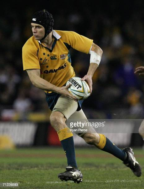 Stephen Larkham of the Wallabies in action during the Second Cook Cup match between the Australian Wallabies and England at the Telstra Dome on June...
