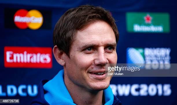 Stephen Larkham Skills Coach of Australia speaks to the media during an Australia media session at the MacDonald Bath Spa Hotel on September 17 2015...