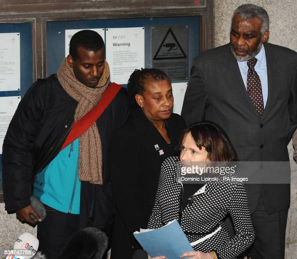 Stephen Lawrence's mother Doreen Lawrence alongside Stephen's father Neville and brother Stuart with Neville Lawrence's lawyer Jocelyn Cockburn...