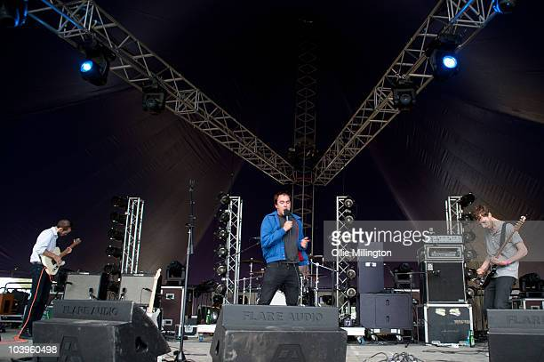 Stephen leach Rhys Jones and William church of Good Shoes perform on the main stage during day one of Offset Festival at Hainault Country Park on...