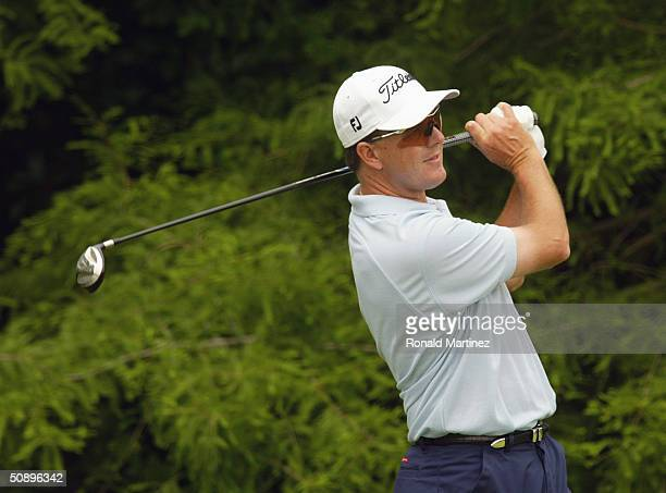 Stephen Leaney hits a shot during the third round of the EDS Byron Nelson Championship on May 15, 2004 at the TPC Las Colinas in Irving, Texas.