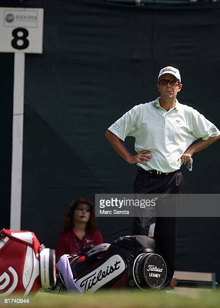 Stephen Leaney waits on the green after making a hole in one on the eighth hole during the second round at the Buick Open at Warwick Hills Country...