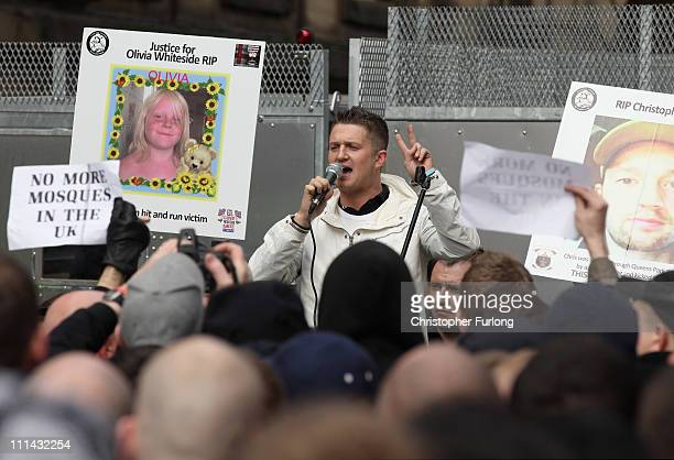 Stephen Lennon aka Tommy Robinson addresses members of the English Defence League gather for a demonstration against radical Islamism on April 2 2011...