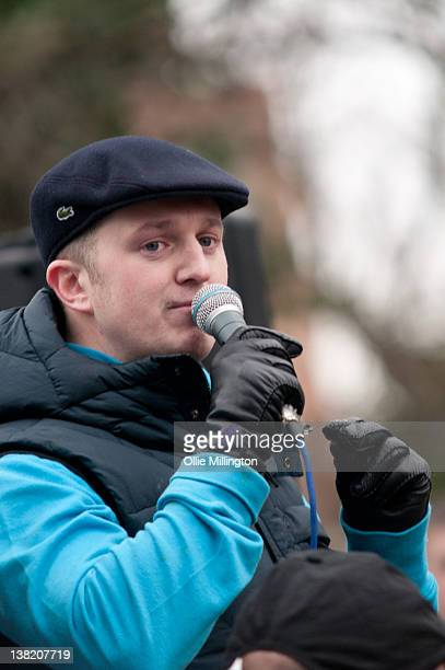 Stephen Lennon AKA Tommy Robinson leader of the English Defence League speaks to members after marching during a demonstration through the streets of...