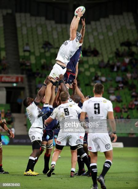 Stephen Lewies of the Sharks wins the lineout during the Super Rugby union match between the Melbourne Rebels of Australia and the Coastal Sharks of...