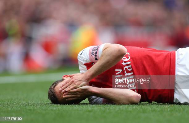 Stephen Lichtsteiner of Arsenal during the Premier League match between Arsenal FC and Brighton Hove Albion at Emirates Stadium on May 05 2019 in...