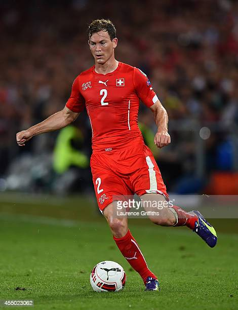 Stephen Lichtsteiner of Switzerland in action during the UEFA EURO 2016 Qualifier match between Switzerland and England on September 8 2014 in Basel...