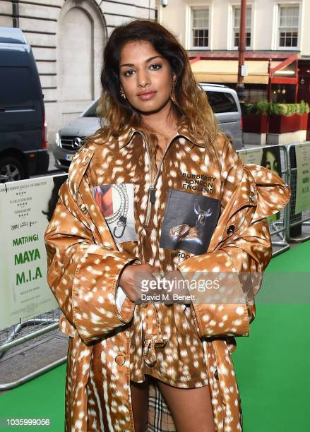 Stephen Loveridge and Maya Arulpragasam attend the London Premiere of 'MATANGI / MAYA / MIA' at The Curzon Mayfair on September 19 2018 in London...