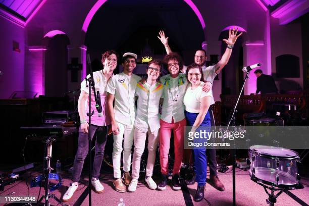 Stephen MacDonald Jack Craft Sam Craft Alexis Marceaux and Skyler Stroup of Sweet Crude pose backstage at Verve Music Group during the 2019 SXSW...
