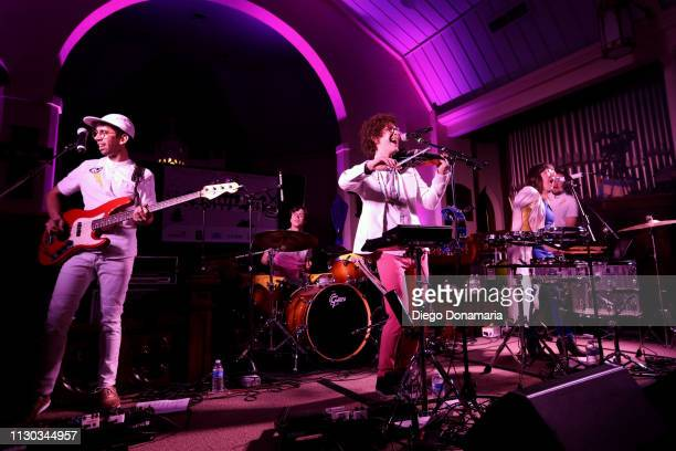 Stephen MacDonald Sam Craft Alexis Marceaux and Skyler Stroup of Sweet Crude performs onstage at Verve Music Group during the 2019 SXSW Conference...