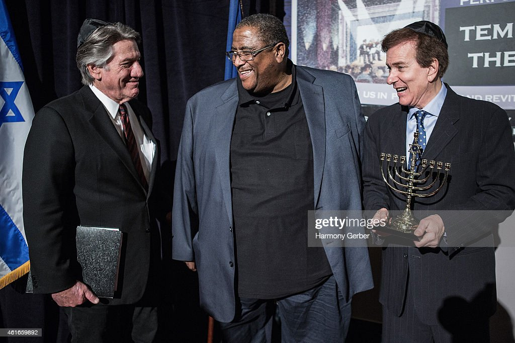 Stephen Macht, Reverend Ronald V. Meyers, Sr. and Rabbi David Baron attend Shabbat Service Honoring Paris Terrorist Victims And The Legacy Of Dr. Martin Luther King, Jr. at Saban Theatre on January 16, 2015 in Beverly Hills, California.