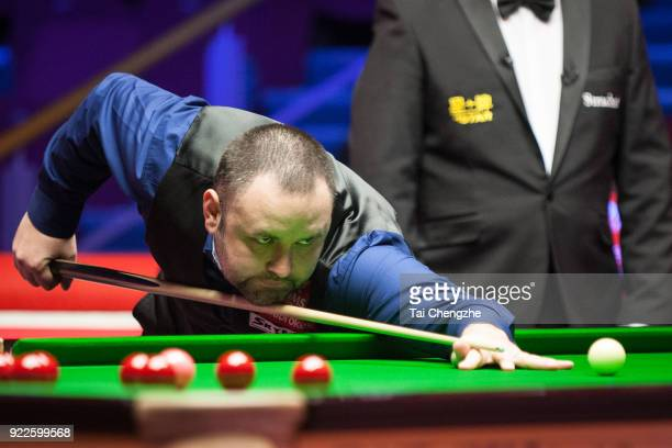 Stephen Maguire of Scotland plays a shot during his second round match against Michael Georgiou of Cyprus on day three of 2018 Ladbrokes World Grand...