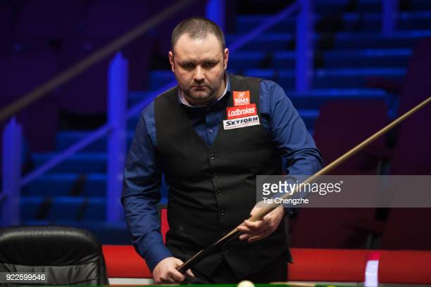Stephen Maguire of Scotland reacts during his second round match against Michael Georgiou of Cyprus on day three of 2018 Ladbrokes World Grand Prix...
