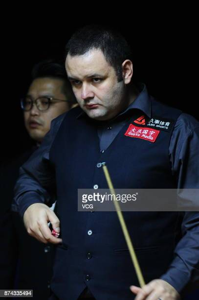 Stephen Maguire of Scotland reacts during the first round match against Rory McLeod of England on day two of 2017 Shanghai Masters at Shanghai Grand...