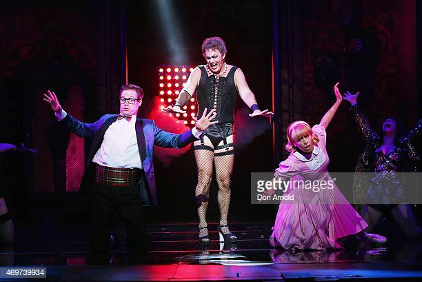 Stephen Mahy plays the role of Brad Craig McLachlan role of Frank N Furter and Amy Lehpamer the role of Janet during a media call for The Rocky...