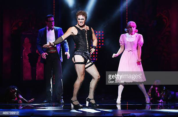 Stephen Mahy plays the role of Brad Craig McLachlan the role of Frank N Furter and Amy Lehpamer the role of Janet during a media call for The Rocky...