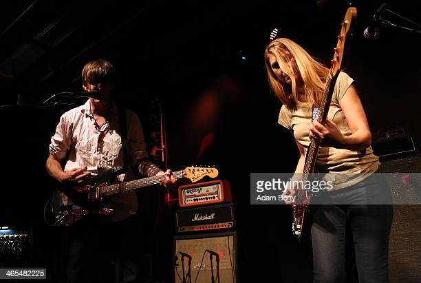 Stephen Malkmus and bassist Joanna Bolme of Stephen Malkmus and The Jicks perform during a concert at Postbahnhof on January 27 2014 in Berlin Germany