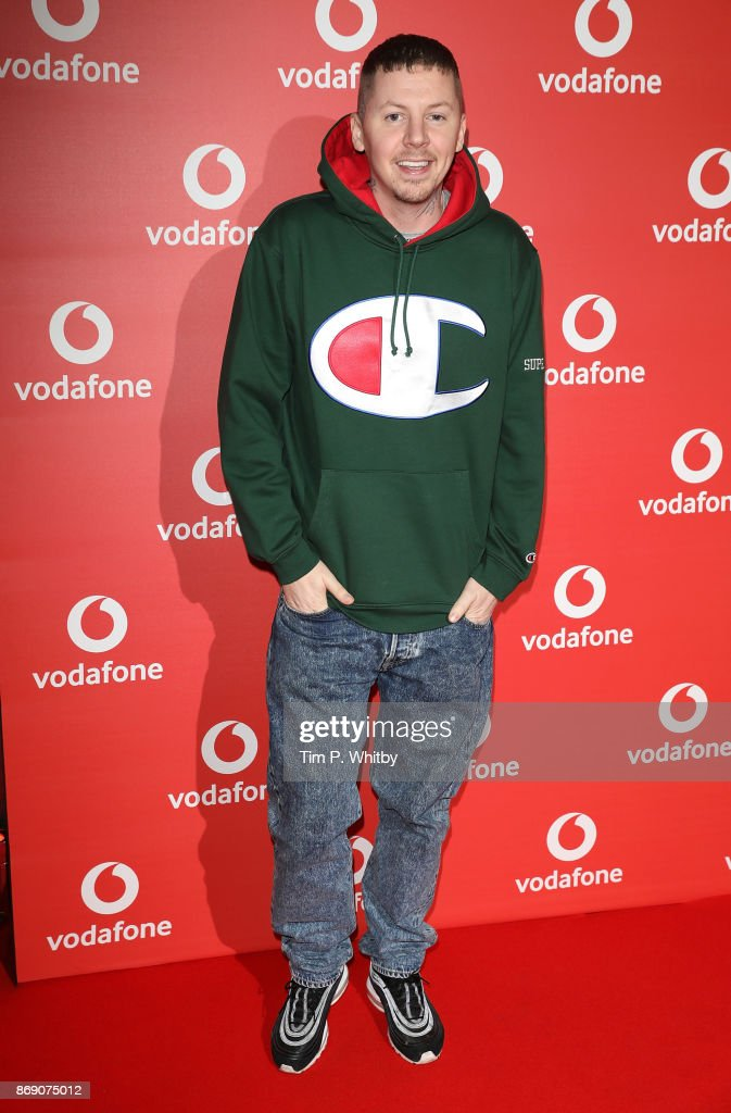 Stephen Manderson, aka Professor Green attends the Vodafone Passes Launch held at The Bankside Vaults on November 1, 2017 in London, England.