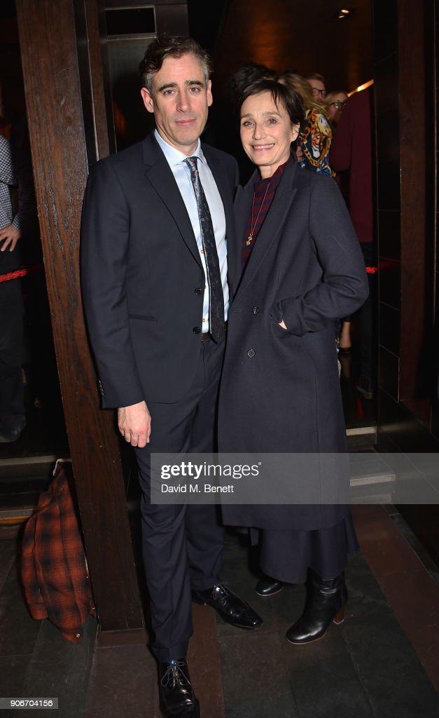 Stephen Mangan and Dame Kristin Scott Thomas attend the press night after party for 'The Birthday Party' at Mint Leaf on January 18, 2018 in London, England.