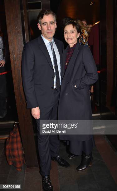 Stephen Mangan and Dame Kristin Scott Thomas attend the press night after party for 'The Birthday Party' at Mint Leaf on January 18 2018 in London...