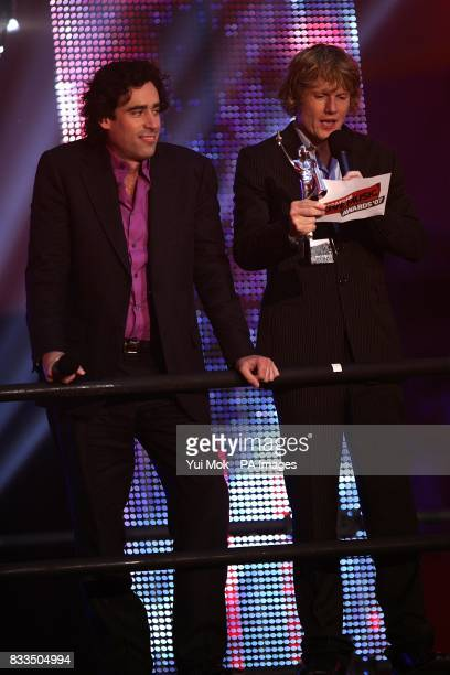 Stephen Mangan and Julian RhindTutt present an award during the Vodafone Live Music Awards 2007 at Brompton Hall Earls Court London SW5