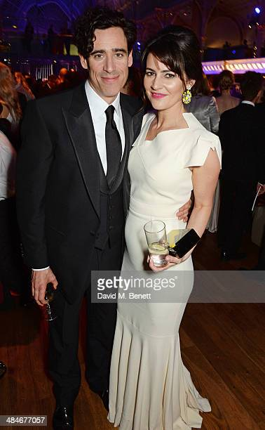 Stephen Mangan and Louise Delamere attend an after party following the Laurence Olivier Awards at The Royal Opera House on April 13 2014 in London...